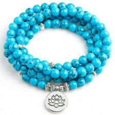 6mm Turquoise 108 Beads Lotus Pendant Bracelet Meditation Lucky Wrist pray