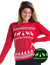 Glow in the Dark Reindeer Womens Long/S T-shirt -Alternative Christmas Jumper
