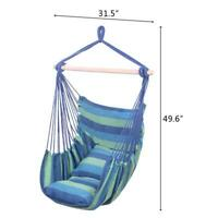 Top-Grade Distinctive Cotton Canvas Hanging Rope Chair with Pillows Blue