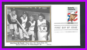 ROBERTO CLEMENTE: 1st day cover for Clemente stamp w/ALOU, MOTA, STARGELL photo