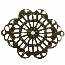 8 Antique Bronze Metal Filigree Flower Wraps Connectors Pendants 35mm Findings