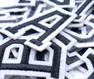 Black Letter Patch Patches Iron on / Sew on Retro Alphabet Embroidered Letters