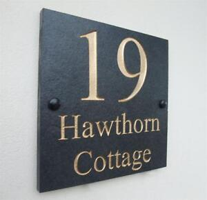 Engraved Natural Slate House Door Sign Name Number Plaque Gold Silver or White