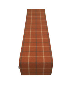Highlands Lewis Autumn Tartan Tweed Faux Wool lined table/Bed runner made UK