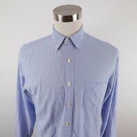 J Crew Mens Cotton Long Sleeve Button Down Blue White Striped Dress Shirt Medium