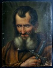 Peinture ancienne suiveur de Van Dyck portrait homme barbu épée Antique painting