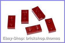 Lego 5 x placa (1 x 2) - 3023 rojo oscuro-Dark Red plate-nuevo/new