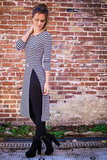 Cotton Blend Long Sleeve Casual Striped Dresses for Women