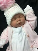 REBORN BABY GIRL FIRST REBORN SPANISH STYLE OUTFIT HUGE POM POM  - 0124 M