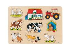 Goki 57908 Steckpuzzle Bauernhof I bunt ()