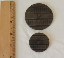 """Lot of 2 Matched Wood Laminate Buttons GREEN Coat Sweater 2½"""" & 1¾"""" Round 2 Hole"""