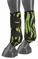 Tough 1 Extreme Green Zebra pattern large FRONTS sport boots horse tack 64-17000