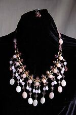 Natural Pink Rose Quartz Crystal Statement Necklace and Earring Set New