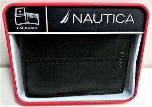 Nautica Men's Genuine Black Leather Passcase Bi-Fold Wallet