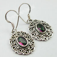 925 Sterling Silver Natural Multicoloured Oval Mystic Topaz Dangle Earrings 1.3""