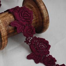 Guipure Lace Trim - Floral Rose Flower Leaf  - Red Violet - 4cm Wide - GLR10