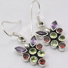 COLORFUL Earrings !! 925 Solid Silver Natural AMETHYST, GARNET, PERIDOT 1.3""