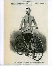 Champion Bicyclist  of France M.Terront Vintage Bicycle Print Antique Bike 1891