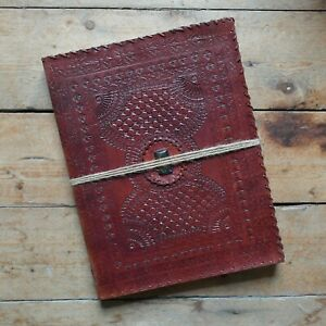 """13"""" Real Leather Vintage Handmade Sketchbook Journal Diary with Two-Tone Stone"""