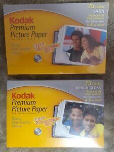 2 × Kodak Premium Picture Photo Paper High Gloss & Satin 150 Sheets InkJet 4x6