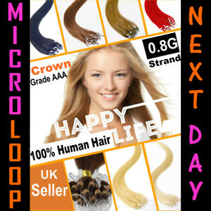"16"" 18"" 20"" 22"" 0.8g Micro Ring Hair Extensions-Easy Loop-100% REMY Human Hair"