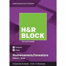 H & R Block Tax Software Homeowners / Investors Deluxe + State 2018