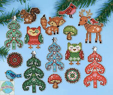 Cross Stitch Kit ~ Design Works 15 Woodland Friends XMAS Ornaments PC #DW1694