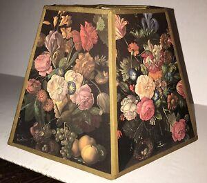 Vintage Black Floral Hex Shaped Lampshade