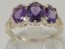 Victorian Design Solid English Sterling Silver Natural 2.6ct Amethyst Ring
