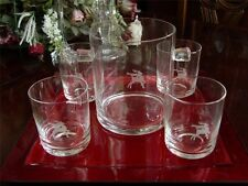 Gorham Christmas Bar Set Mixed Drink Whiskey Glasses Ice Bucket Etched Reindeer