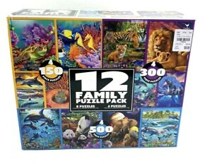 12 Family Puzzle Pack - 150, 300, 500 Pieces. Asst. Animals and Scenes.