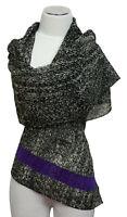 Schal scarf écharpe 100% Wolle bestickt embroidered wool laine brodé Pailletten