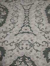 """Antique Ecru Bobbin Lace Tablecloth 59"""" x 50"""" Square Floral Cutwork"""