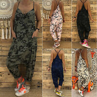 Womens Strappy Loose Jumpsuit Rompers Summer Casual Baggy Harem Pants Playsuit