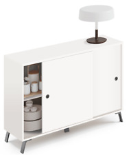 Aparador armario blanco Kamet mueble auxiliar salon comedor moderno 87x120x40 cm