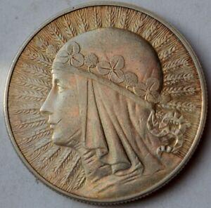 10 Zlotych Silver coin, Queen Jadwiga 1932 Warsaw Mint, mint mark
