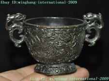 Marked China dynasty Bronze Dragon Phoenix bird statue Wine vessel wineglass cup