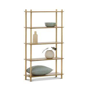 5 Tier Tall Bookshelf Case in Natural Oak Wood in Modern Scandinavian Design