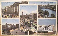 Irish Postcard DUBLIN Ireland Multiview Trinity O'Connell St CIE Liffey Dennis