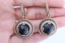 Turkish Jewelry Ottoman Round Black Onyx Topaz 925 Sterling Silver EarRings