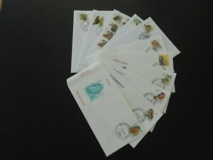 """BELGIUM """"Birds, André BUZIN"""" 5 different covers + 5 different FDC covers!"""
