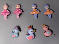 3D Ballerinas & Swans Lot Of 7 Shoe,Lace Adapter , Bracelets Charm's Fits Crocs