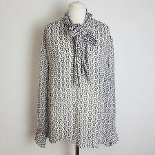 Next Womens Blouse Shirt UK 18 White Black Sheer Loosefit Chain Print Long Slv