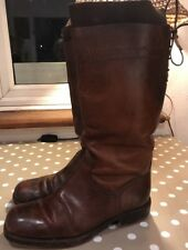 PURE LEATHER BROWN BOOTS KNEE HIGH VINTAGE LOOK SIZE 4 He Best Leather BERTIES