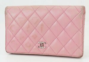 Authentic CHANEL Pink Quilted Leather CC Long Wallet Coin Purse #40211A
