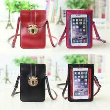 Women Buckle PU Touch Screen Convenient Crossbody Bag Mobile Phone
