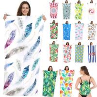 Women Beach Towel  Drawstring Backpack 2 In 1 Bath Towel Picnic Blanket Yoga Mat