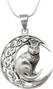 Women's 925 Sterling Silver Moon and Cat Symbol Pendant on Chain for Women