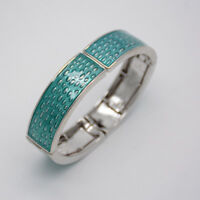 Lia Sophia signed jewelry silver tone stretch bangle light blue enamel bracelet