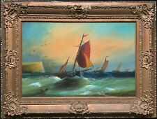 Large 19thc Marine Seascape Sailing Oil Painting 'White Cliffs Of Dover Regatta'